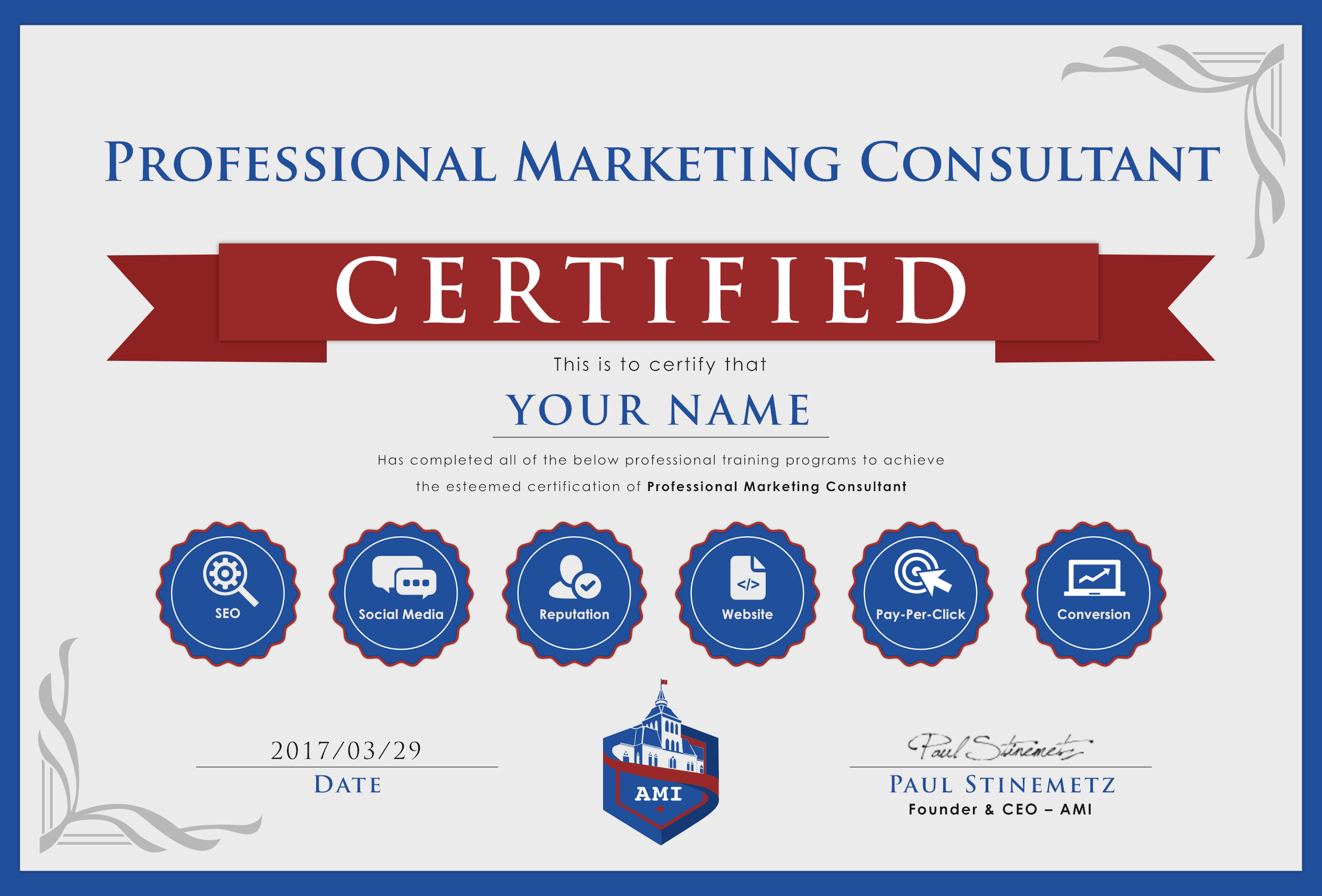 consultant certification marketing testout programs ami professional certificate instructors pc cost exam culminating assignments students offer choose course
